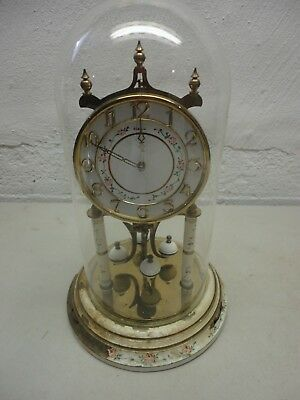 Vintage Heco Anniversary Clock with Glass Dome Made in Germany Non-Working