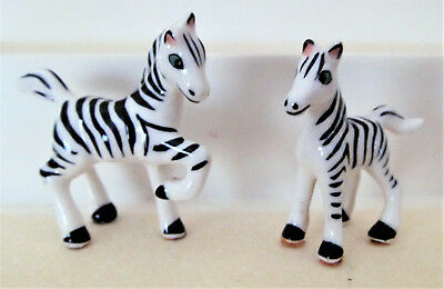 Vintage Bone China Miniature Pair of Zebra Figures - Shiken - 1960's