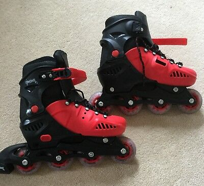 Adjustable Inline Red & Black Skates Size 5-7