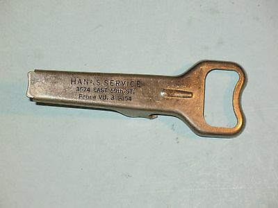 1940s HANK'S SERVICE (GAS STATION) ~ BOTTLE & CAN OPENER ~ NEAT
