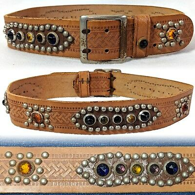 Vintage 1930s Studded Jeweled Belt Double Prong Buckle Western 26 28