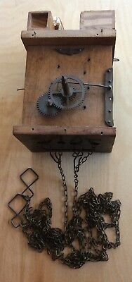 Antique Early Black Forest 30 Hr Cuckoo Clock Movement Wood Plates Good Bellows