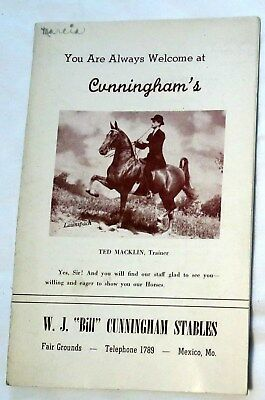 c1950 Cunningham Stables in Mexico, Missouri Horse Sale Program/Booklet