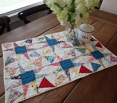 Wonderful Color! Vintage Star Feedsack Table Quilt RUNNER 27x18