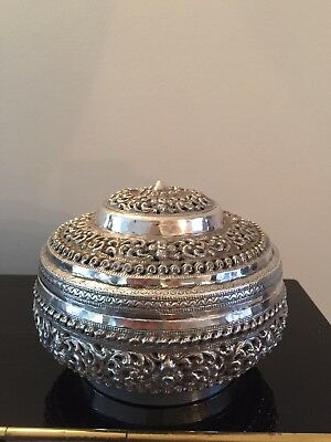 Exquisite Thai Chiang Mai Orchid 950 silver bowl 305 Grams Incense Burner
