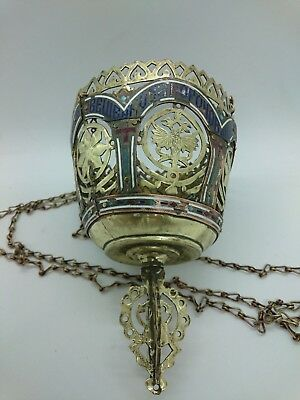 Antique Russian Orthodox Icons Large Lamp Lampada Brass with Enamel 1896.