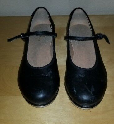 Girls Youth BLOCH TECHNO TAP Black Mary Jane Leather Tap Dance Shoes Size 8