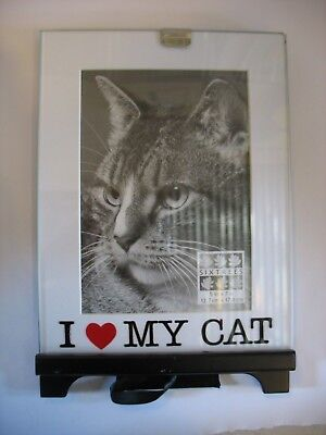 "NWT Sixtrees I love my cat picture frame 5"" x 7"" Glass with metal frame"