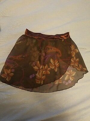 wrap ballet skirt child XS  chiffon mock wrap brown chiffon