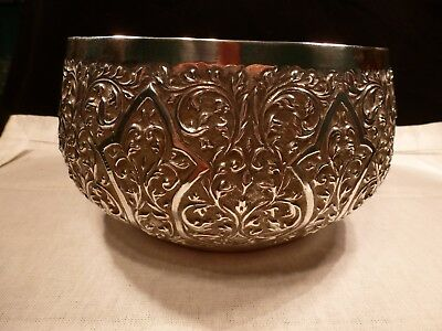 Impressive Antique Burma Burmese Sterling Silver Heavy Hand Crafted Chased Bowl