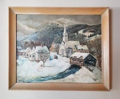 Weiss Vintage American Regionalism Folk Art Winter Town Landscape Oil Painting