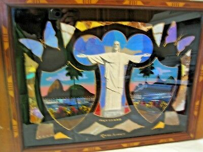 """Antique """"Butterfly Wing"""" Exotic Inlaid Wood Tray Souvenir of Rio de Janeiro"""