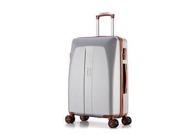E45 Grey Universal Wheel Coded Lock Travel Suitcase Luggage 24 Inches W
