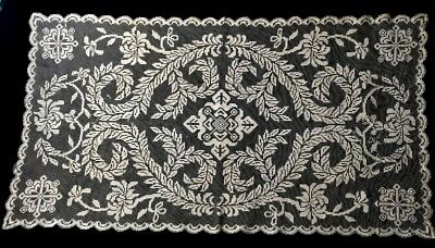 Antique Elegant Italian Lace Runner Darning on Knoted Net Royal Style Pattern