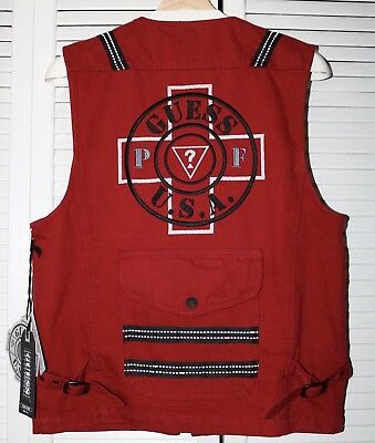 bea05085afe86 Brand New Guess Places Plus Faces Red Vest Size S Small Mens 3M Complex Con  Rare