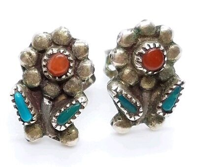 Vtg Sterling Silver Turquoise & Coral Petite Daisy Flower South Western Earrings