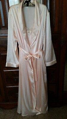 New Old Stock Vintage Cerie Long Pale Pink Peignoir Gown & Robe Set Size Large