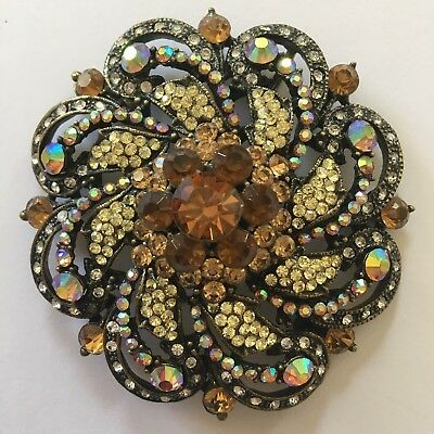 Huge Vintage Sparkling Amber Yellow AB & Clear Rhinestone Flower Brooch