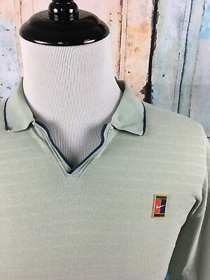 ed29b87e NIKE Tennis Challenge Court Vtg 90s Retro Khaki Agassi V-Neck Polo Shirt  Men's L