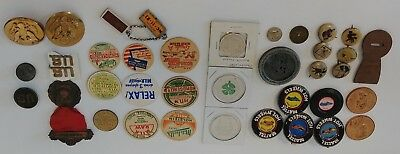 Mixed Lot Vintage Junk Drawer Collectibles Tokens Military Buttons Pins & More