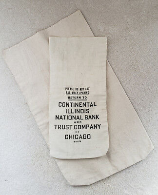 Two (2), U.s. Bank Canvas Coin Bags ~ Chicago Trust Co ~ Perfect For Gag Gifts