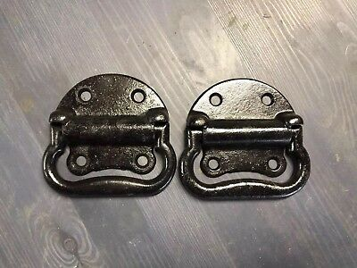 "Pair Of Antique Cast Iron Tool Chest Drop Handles ""  Large Four Finger Size"""