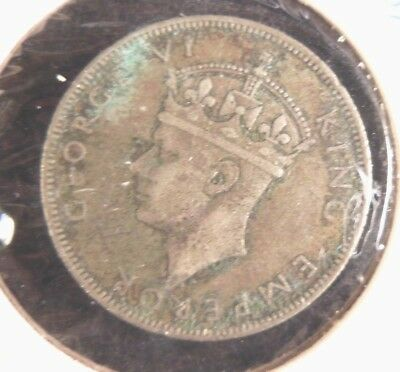 Seychelles 1 Rupee 1939  Silver Coin -GEORGE VI LOW MINTAGE - 1 YEAR TYPE