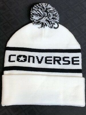 8fd4a80a4cb Converse White Beanie Hat Pom Winter Knit Men   Women Cuffed White Black Hat