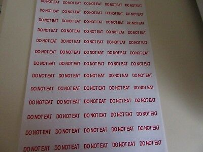 65 X Do Not Eat Red  Text Warning Small  Stickers Self Adhesive   A4 Sheet