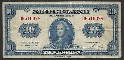 """CIR"" 1943 Netherlands 10 Gulden ""DH510678"""
