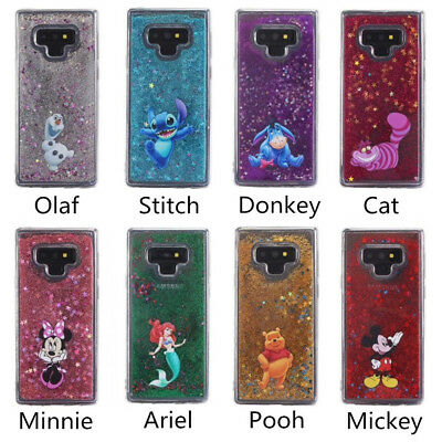 For Samsung S5 S9 S7Edge S8 Note 9 Disney Moving Glitter Liquid Phone Cover Case