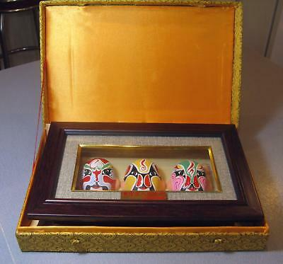 2004 Three Chinese Opera 3-D MASKS Framed w/ Box, Certificate, Painted Designs