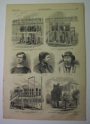 1865 print - Execution of ABRAHAM LINCOLN CONSPIRATORS; 3 views of hanging