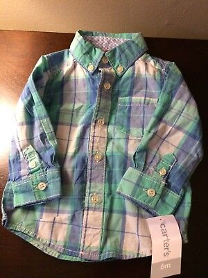 NWT Carters Baby Boy Long Sleeve Plaid Dress Shirt Sz 6 Mo Teal Blue White