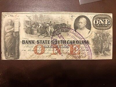 1862 Bank of the State of South Carolina One Dollar Note Cancelled Bill NR