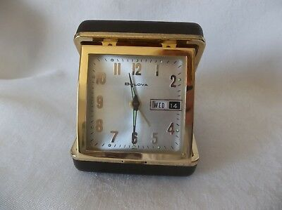 Rare Vintage BULOVA Folding Alarm/Travel Clock With Day & Date Works Great