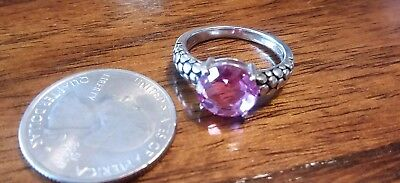 Michael Dawkins Sterling Silver Lab Created Pink ring size 8
