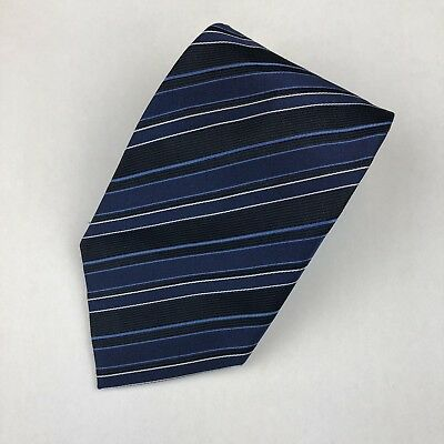 Hugo Boss Mens Blue Striped Tie Necktie