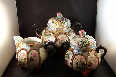 Antique Oriental Rose Bud Finial Teapot Tea Set Hand Painted Signed Amazing