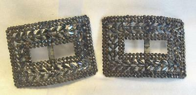 Beautiful Pair of Art Deco Period Iridescent Steel Cut Shoe Buckles French