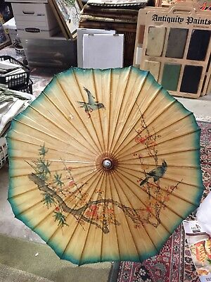 Vintage Bamboo Rice Paper Parasol Wood Handle Birds on Tree Branch