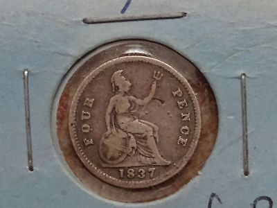 Great Britain 1837 silver fourpence groat UK world coin