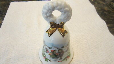Avon Christmas 1986 Collectible Porcelain Bell Boy Girl Ice Skaters