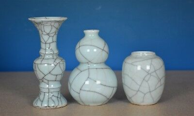 Fine Lot Of 3 Antique Chinese Crackle Porcelain Vases Rare S8916