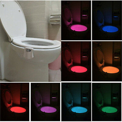 8 Color LED Bathroom Toilet Sensor Night Light Activated Motion Automatic Change