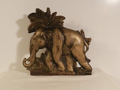 Antique Cast Iron Elephant Palm Tree Doorstop (8.l In By 7 1/2 Tall)  (384)