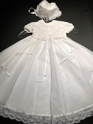 Vintage Small World Baby Girl Christening Gown & Bonnet Style 6012