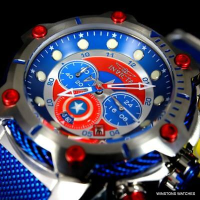 Invicta Marvel Captain America Bolt 50mm Chronograph Stainless Steel Watch New