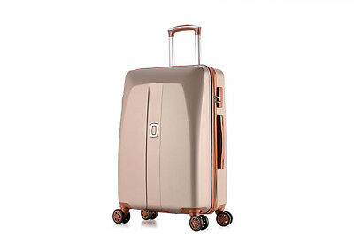 E48 Champagne Universal Wheel Coded Lock Travel Suitcase Luggage 24 Inches W