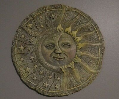 Vtg Celestial Sun & Moon Crescent Hippie Boho Pagan Witch Wall Hanging Plaque